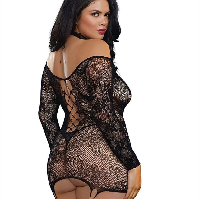 Incredibly sexy, plus-sized lace patterned knit garter dress features faux lace-up details and attached stockings.   An attached lace collar with lace-up detail. Reversible: can be worn with lace-up in front or in back. Thong not included.   Perfect for anniversary gifts, bridal lingerie, holidays, honeymoon, girly gifts, or romantic evenings.   We offer a full range of unique, internationally-lauded lingerie styles. All  are custom designed in los angeles, ca and created with the highest-quality fabrics, trims, and embellishments.   For women of all ages and sizes, Offering select styles in sizes ranging from XS to plus-size 3X. For more details on finding your perfect size, Please view Our size chart. Visit: www.naughtypossessions.co.uk